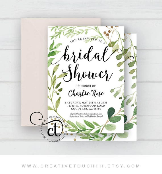 Greenery bridal shower invitation garden bridal shower etsy image 0 filmwisefo
