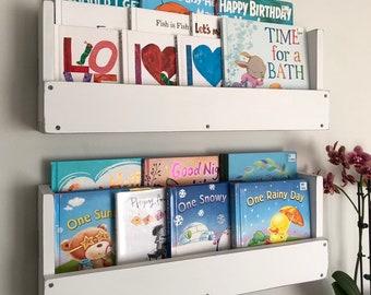 Wood Book Shelves Nursery Decor Rustic Book Shelf Wall Mounted Book Shelf  Playroom Kids Book Storage Kids Room Set Of 2 White Distressed