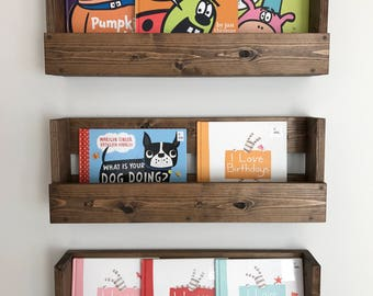 Set Of 3 Rustic Wood Shelves Kids Room Nursery Book Shelf Wall Hanging And