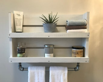 bathroom shelf with towel bar etsy rh etsy com Bathroom for Towel Bars Shelf with Towel Bar