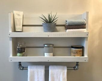 shelf with towel bar etsy
