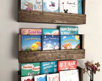 Wood Shelves Kids Room Nursery Book Shelves Set Of 3 Rustic Provincial Wood  Book Shelf Wall Hanging Shelves Kids And Nursery Shelf Living