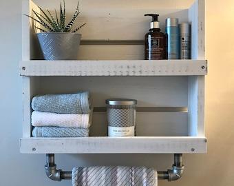 Bathroom Shelf With Towel Bar White Distressed Wood Shelf With Galvanized  Pipe Towel Bar Wall Mounted Storage Floating Shelf Industrial