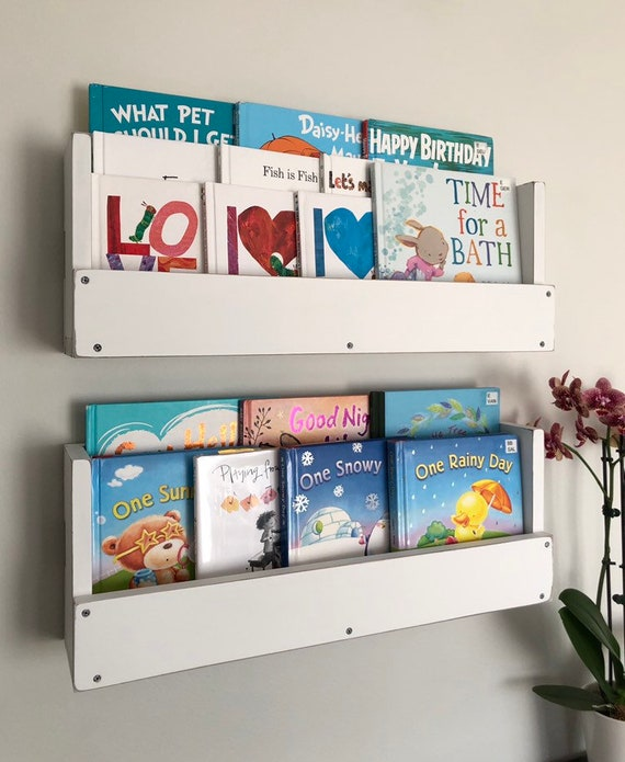 Wood Book Shelves Nursery Decor Rustic Book Shelf Wall Mounted Etsy