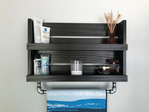 Bathroom Shelf With Galvanized Pipe Towel Bar Wall Mounted Shelves Towel Holder Industrial Pipe Decor Pipe Towel Bar Bathroom Shelf Decor