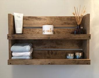 Bathroom Rustic Shelf, Bathroom Storage, Wall Mounted Shelves, Country Farm Decor, Bathroom Organizer And Storage, Holiday Gift Wooden Shelf