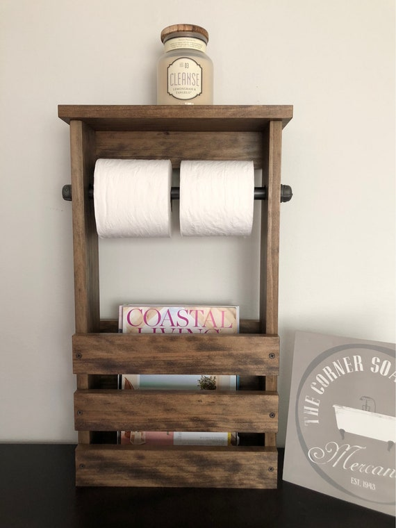 Bathroom Toilet Paper Holder Magazine Rack Combo Rustic Free Etsy Delectable Toilet Paper Holder With Magazine Rack