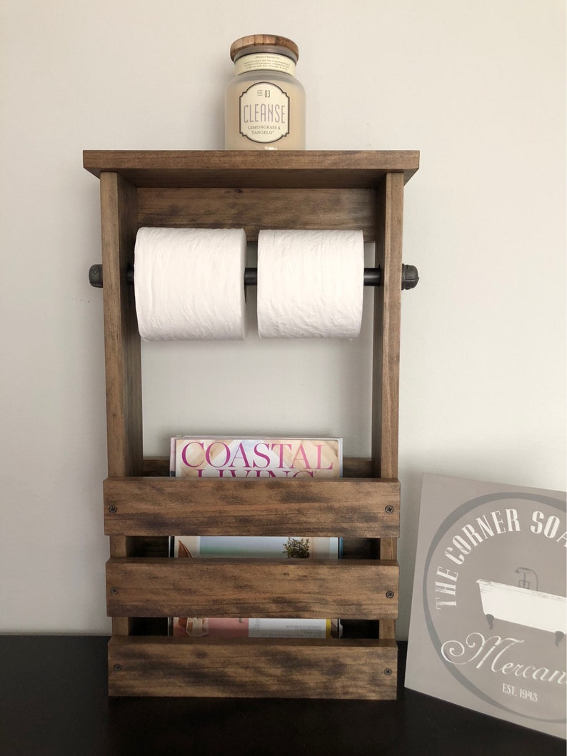 Bathroom Toilet Paper Holder And Magazine Rack With Shelf image 0