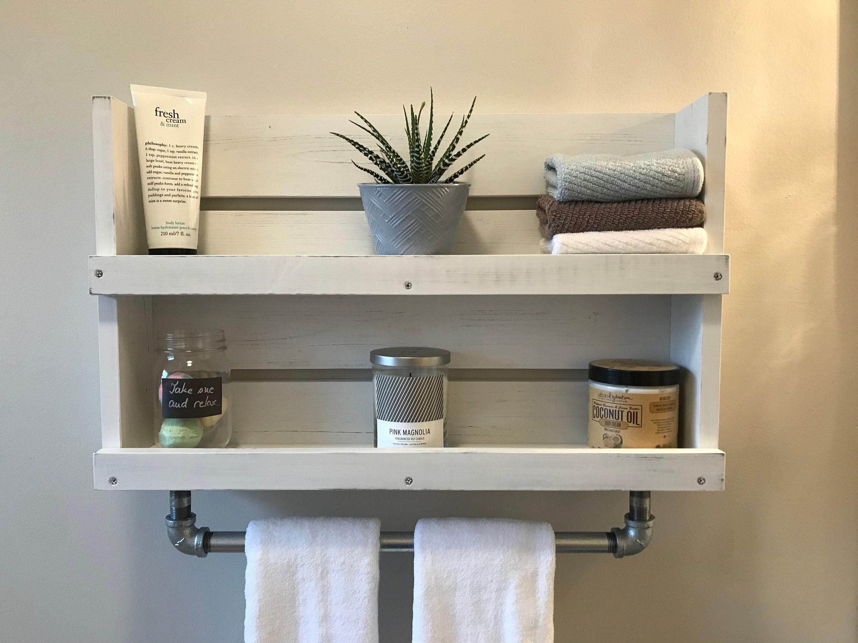 bathroom shelf with towel bar white distressed wood shelf etsy. Black Bedroom Furniture Sets. Home Design Ideas