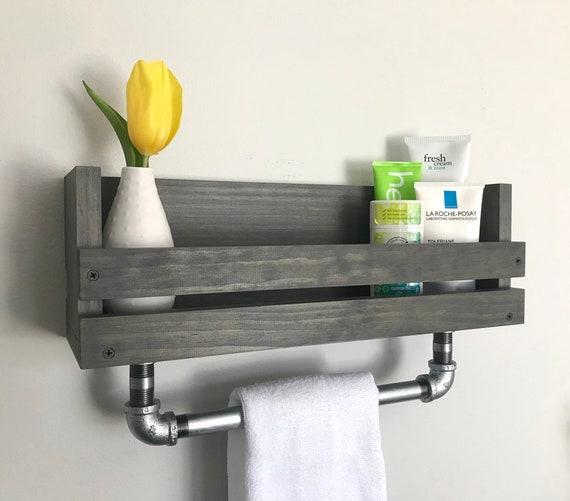 Wood Floating Bathroom Shelf With Towel Bar Towel Holder Etsy