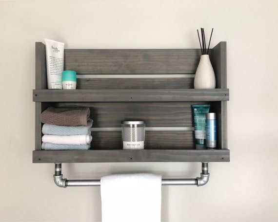 Bathroom Shelf With Galvanized Pipe Towel Bar Wall Mounted Etsy