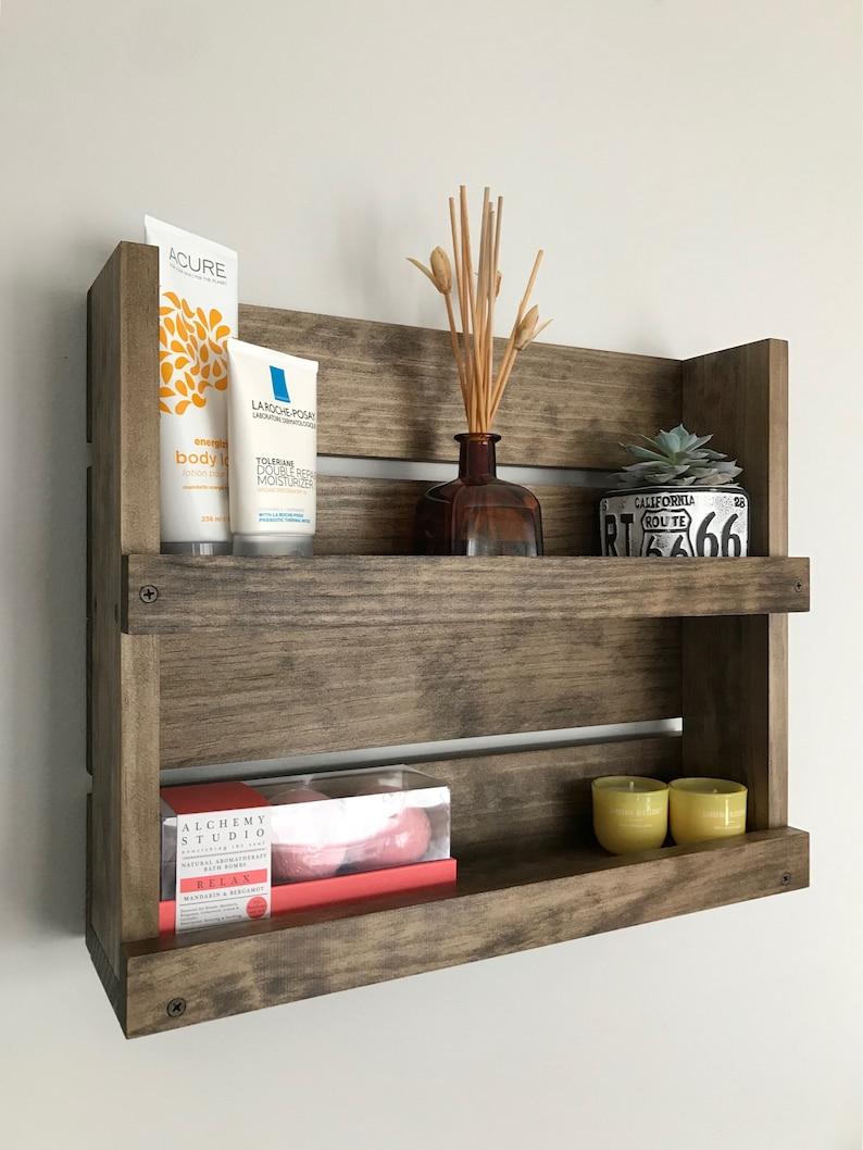 Étagère de salle de bain rustique organisateur bois industriel | Etsy