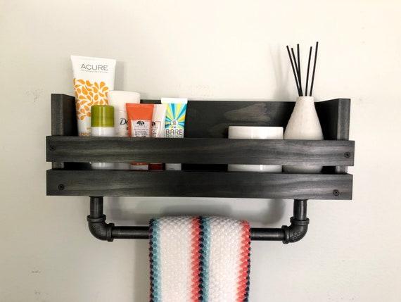 Bathroom Shelf With Towel Bar Towel Holder Bathroom Towel Bar Etsy