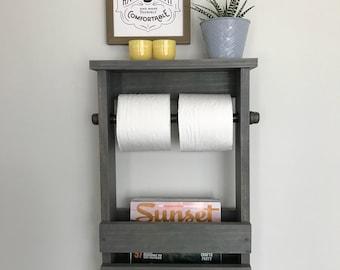 Bathroom Freestanding Toilet Paper Holder, Bathroom Organizer, Rustic Toilet Paper And Magazine Holder With Shelf, Toilet Paper Pipe Rack
