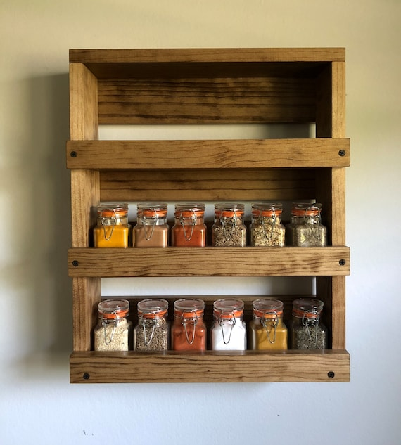 Wall mounted spice rack, Rustic spice storage, Kitchen spice organizer,  Gift for her, Farmhouse decor, Kitchen storage and decor, Spices