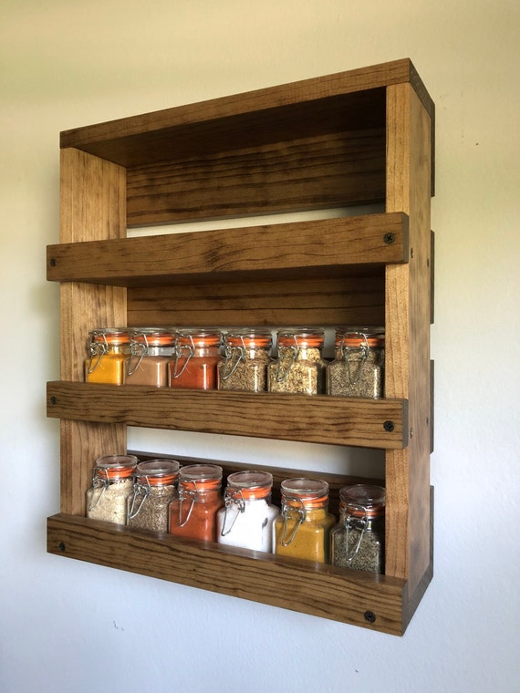 Wall Mounted Spice Rack, Spice Shelves, Kitchen Spice Organizer Gift for  Her, Farmhouse Kitchen Storage and Decor, Spice Jars Hanging Shelf