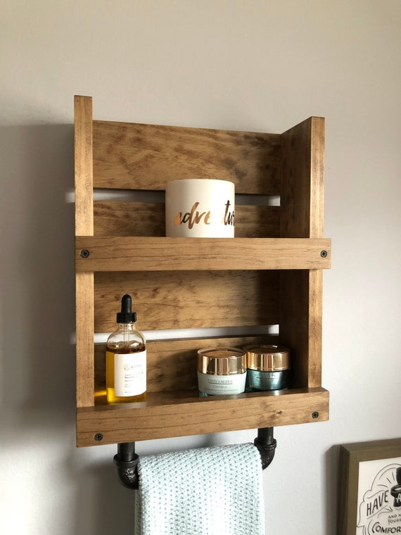 Small Bathroom Wall Shelf With Towel Bar, Wall Mounted Shelf With Pipe  Towel Holder, Bathroom Wood Shelf Towel Bar Industrial Decor Rustic