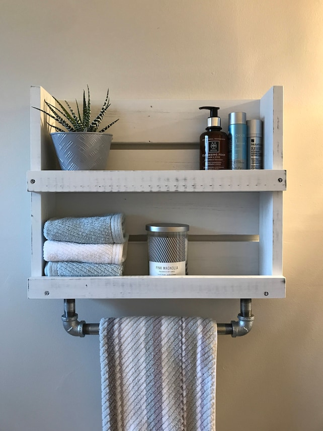 Bathroom shelf with towel bar White distressed wood shelf with | Etsy