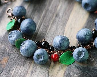 Blueberry Bracelet - Handmade Bracelet - Clay Bracelet - Handcrafted Jewelry - Polymer Clay Blueberry Bracelet