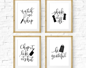 Kitchen Signs, Kitchen Print Set, Printable Art, Watch Me Whip, They See Me  Rollin, Kitchen Prints, Set Of 4 Prints, Kitchen Art Set