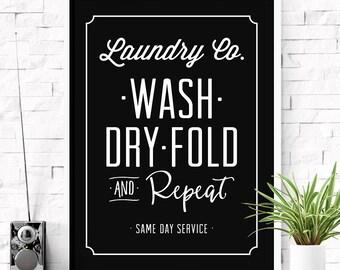 Laundry co sign, Wash dry fold repeat, Laundry room art, Home decor, Farmhouse decor, Laundry decor, Laundry room sign, Printable print