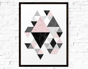 Printable Wall Art, Geometric Art, Scandinavian Print, Printable Abstract Art, Triangle Print, Abstract Wall Art, INSTANT DOWNLOAD ART