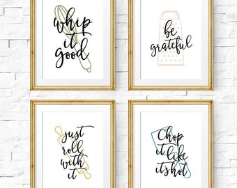 Set of 4 prints, Kitchen wall art, Kitchen decor, Printable wall art, Dining room wall art, Kitchen prints, Just roll with it