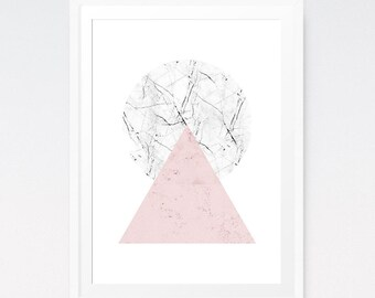 Scandinavian poster, Minimalist wall art, Triangle wall decal, Pink wall art, Scandinavian triangle, Marble print, Scandinavian art