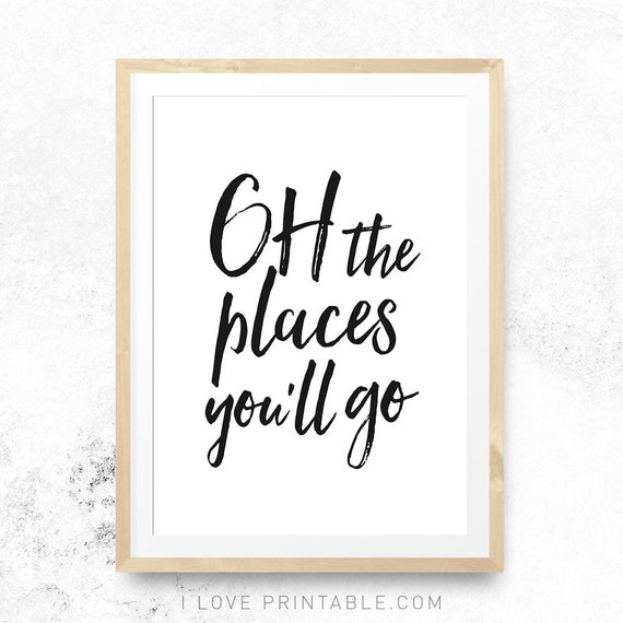 Oh The Places Youll Go Nursery Art Print Nursery Quote Etsy