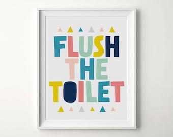 Bathroom sign, Flush the toilet, Printable sign, Kids bathroom art, Bathroom decor, Nursery bathroom, Nursery printable, Bathroom rules