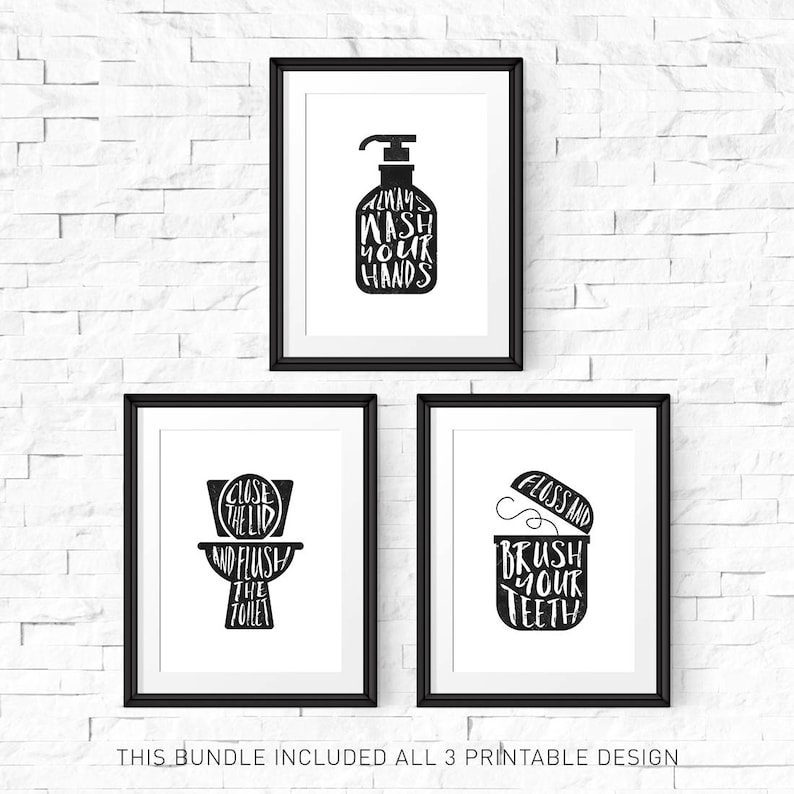 photo relating to Bathroom Sign Printable identified as Rest room wall decor, Printable signal, Print fixed of 3, Flush bathroom indicator, Clean hand signal, Traditional indications, Hand lettered indication, Printable preset
