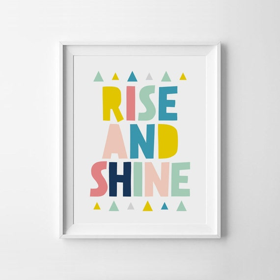 Rise And Shine Colorful Quote Nursery Printables Children | Etsy