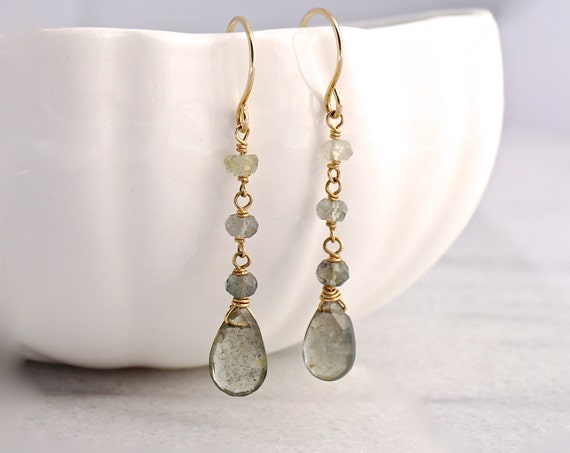 Moss Aquamarine teardrop earrings