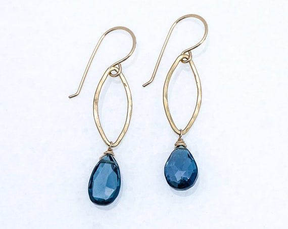 Mystic Blue Quartz on Gold leaf earrings