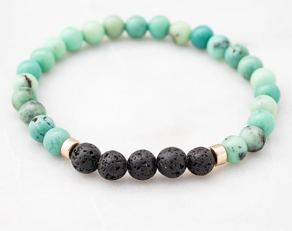 Lava and Chrysoprase bracelet