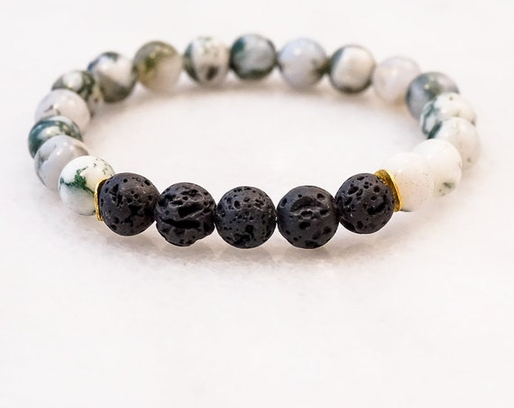 Lava and Moss Agate bracelet
