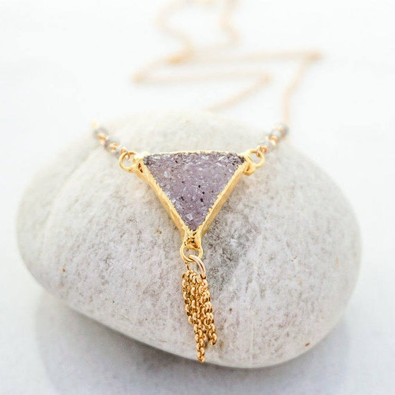Lavender Triangle druzy necklace