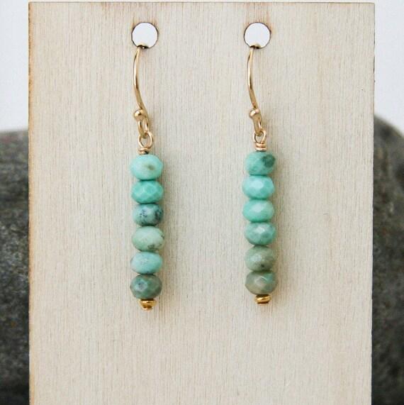 Aqua blue chrysoprase dangle earrings