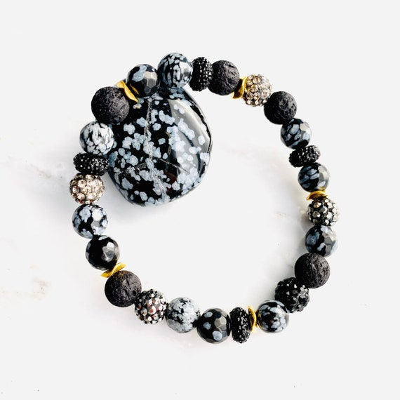Snowflake Obsidian, Crystal and Lava | Essential oil diffuser bracelet | Grounding gemstone bracelet | Black and Grey bracelet