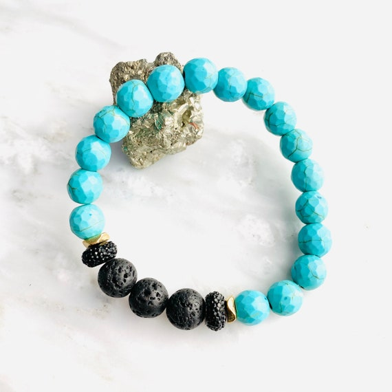 Turquoise and Lava | Essential oil diffuser bracelet | Grounding gemstone bracelet | Black and white  bracelet