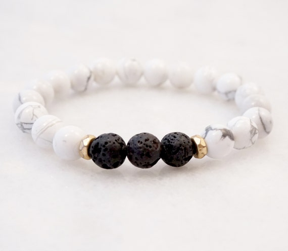 Lava and Howlite bracelet