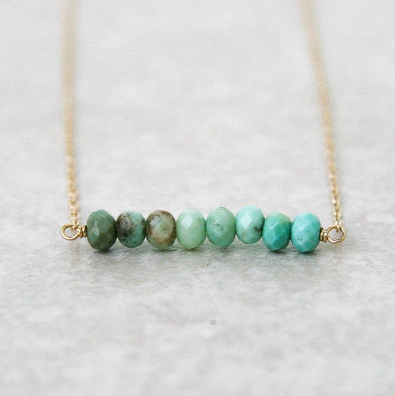 Aqua chrysoprase bar necklace