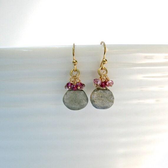 Labradorite and Garnet drop earrings