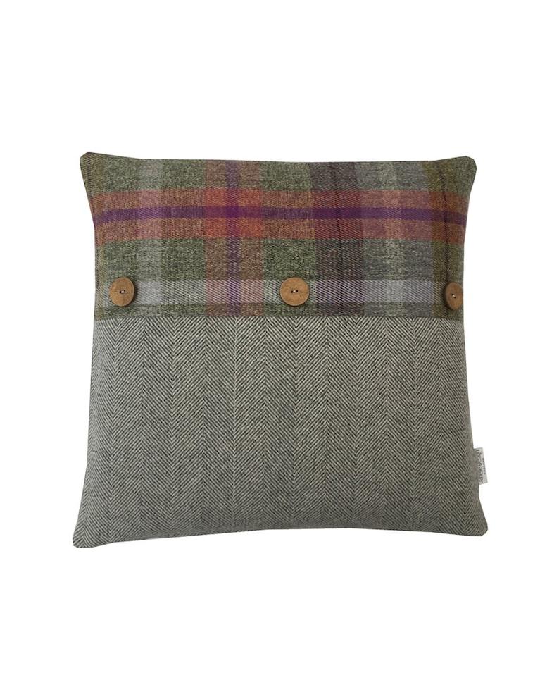 BESPOKE Lewis Tartan Button faux wool Parisian Blue Cushion cover hand made