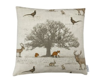 Tartan check Cushion cover pillow case TATTON PARK Woodland animals designer interior fabric Country Home, Kitchen Fox, Rabbit, Pheasant