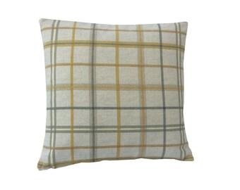 Tartan Check cushion cover/ pillow case Cream Grey Ochre Mustard Yellow Beige
