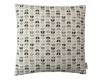 Scandinavian collection Odense Geometric  cushion cover/ pillow case ivory Charcoal and  Dove Grey