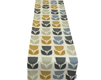 Scandinavian Poppypod Geometric  Ochre Mustard Yellow  Fully lined Table/bed runner  perfect gift