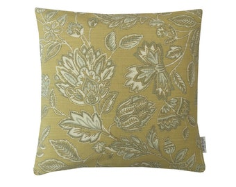 Stunning floral Amore Ochre Mustard Grey cotton fabric retro made in Britain cushion cover pillow case home bedroom sofa