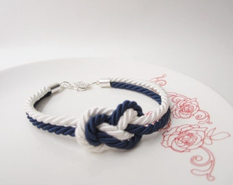 wedding gift, bridal shower gift,nautical bracelet, wedding favors,tie a knot bracelet in navy,beach wedding